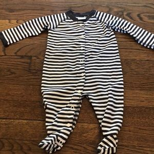 Hanna Andersson stripe footed onesie size 3-6M